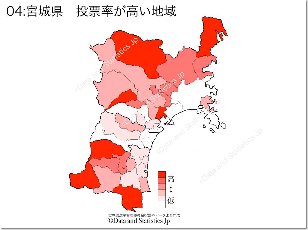 宮城県 市町村別 投票率