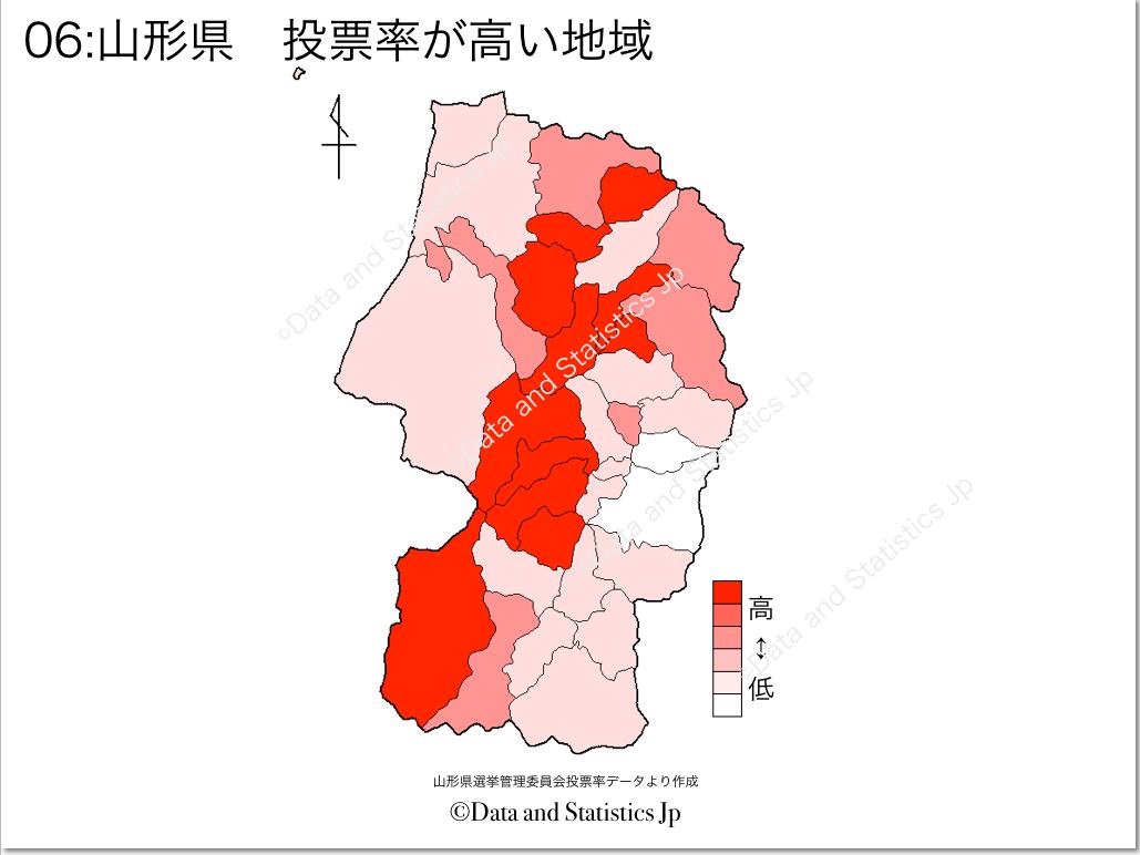 山形県 市町村別 投票率