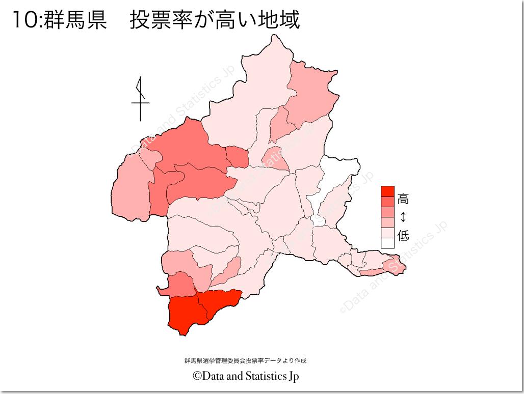 群馬県 市町村別 投票率