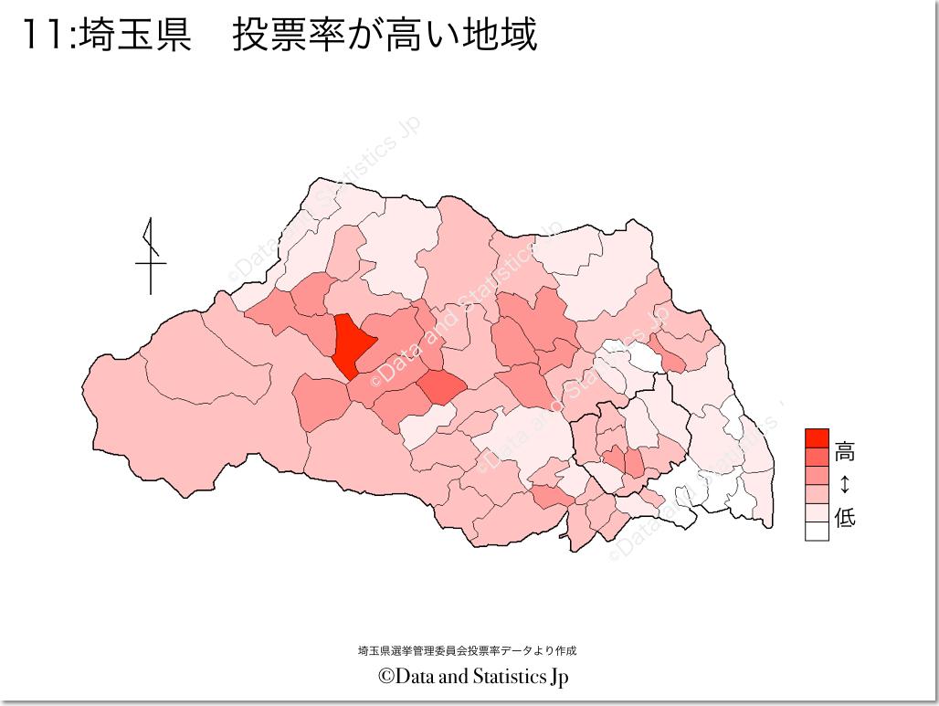 埼玉県 市町村別 投票率