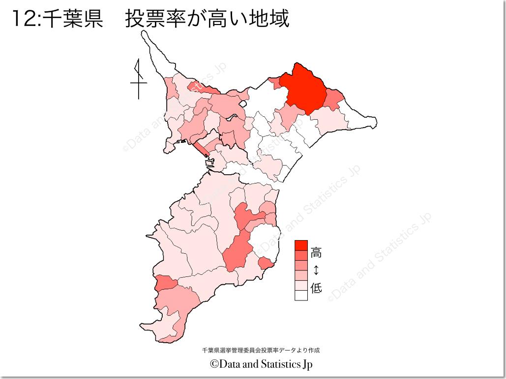 千葉県 市町村別 投票率