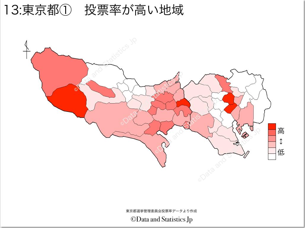東京都 市区町村別 投票率