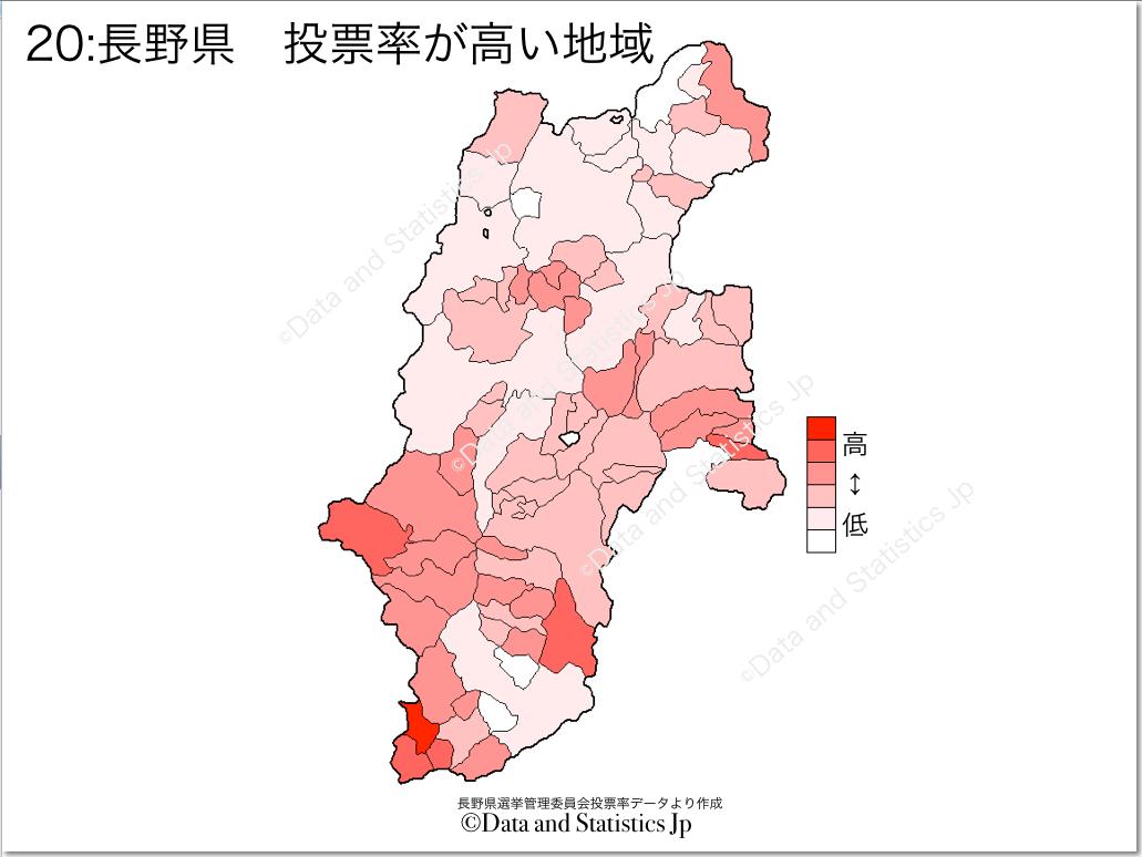 長野県 市町村別 投票率