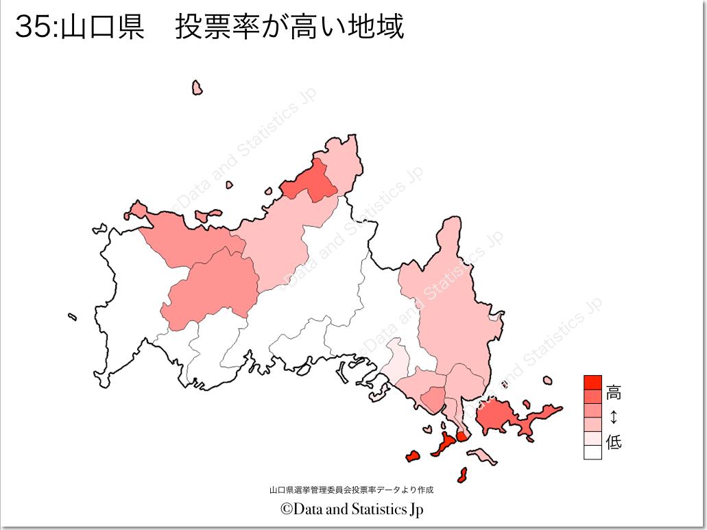 山口県 市町村別 投票率