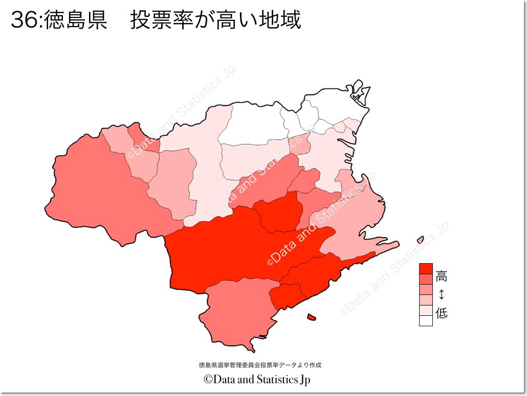 徳島県 市町村別 投票率