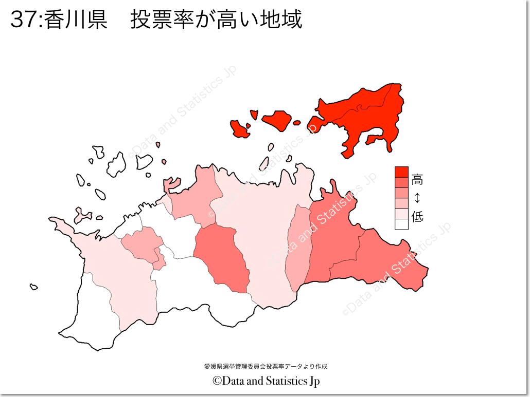 香川県 市町村別 投票率