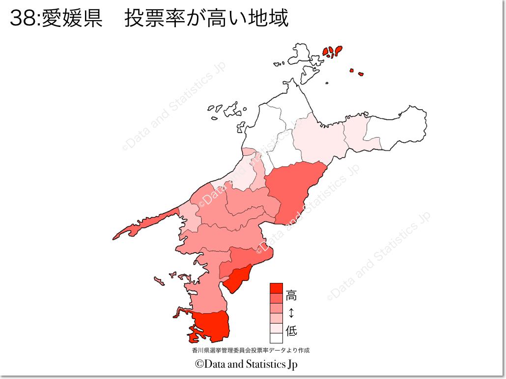 愛媛県 市町村別 投票率