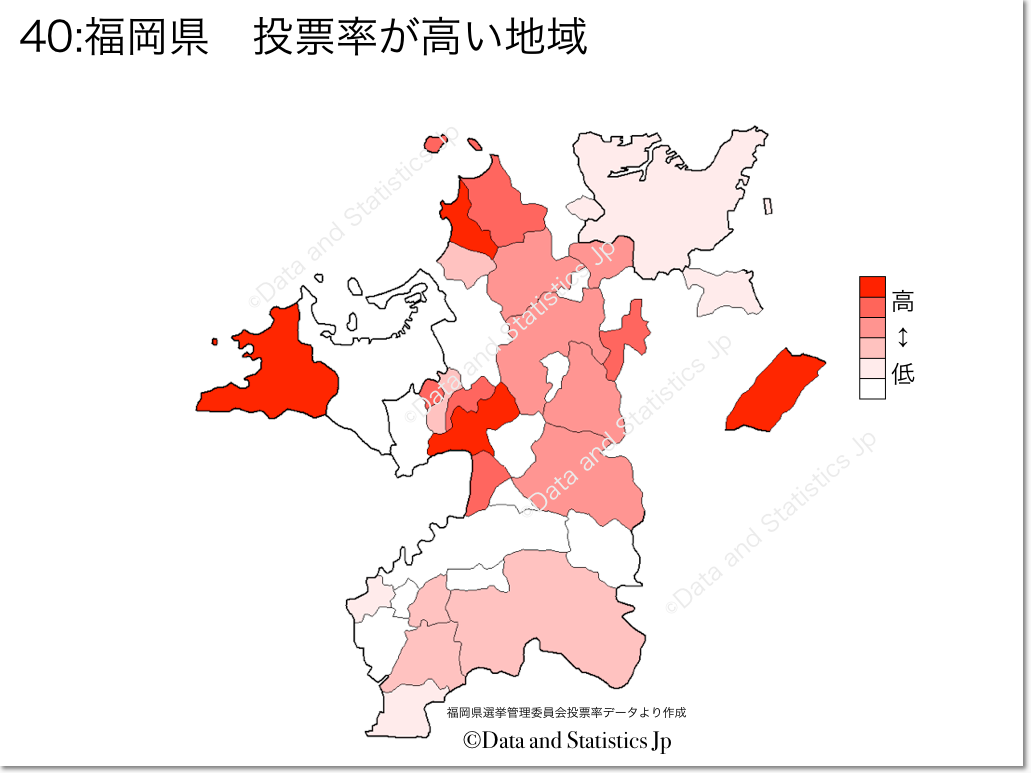 福岡県 市町村別 投票率