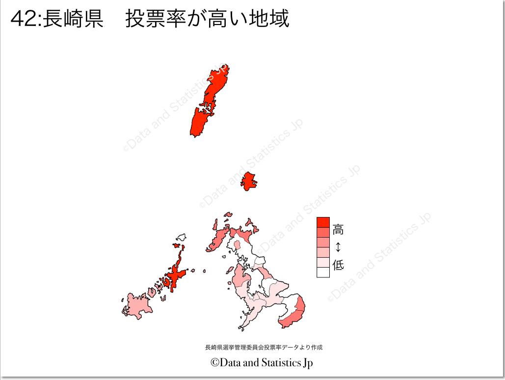 長崎県 市町村別 投票率