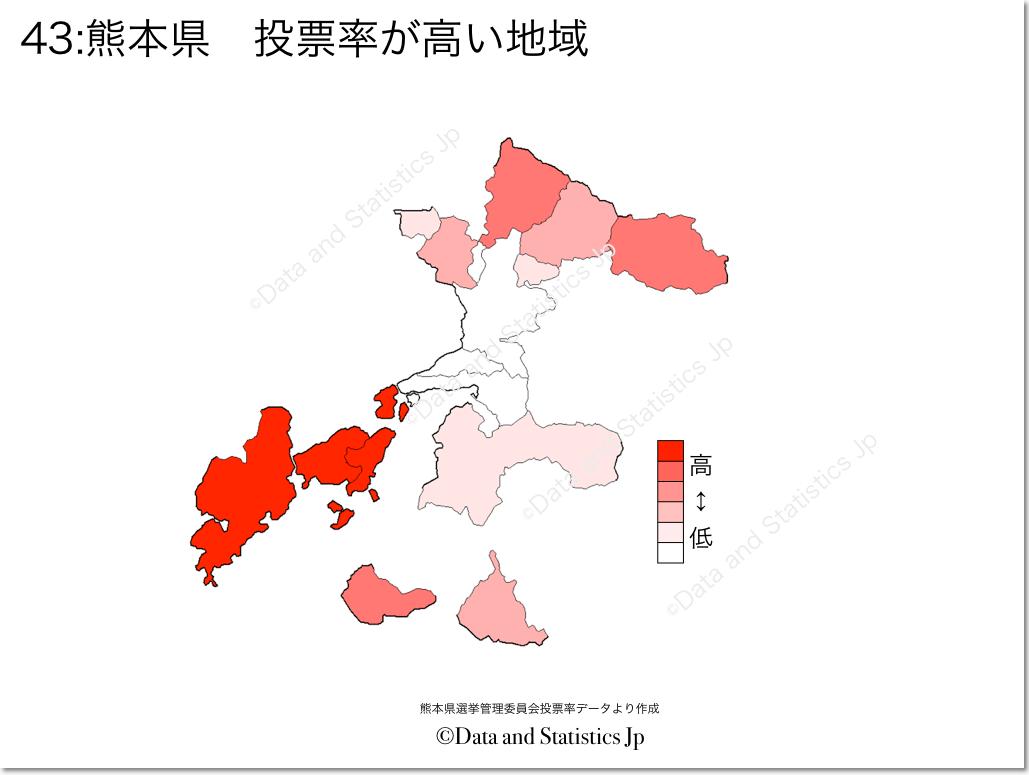 熊本県 市町村別 投票率