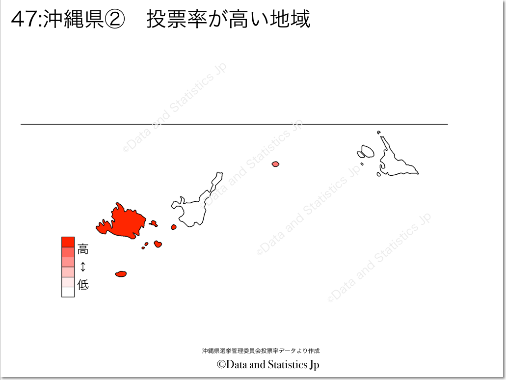 沖縄県 市町村別 投票率